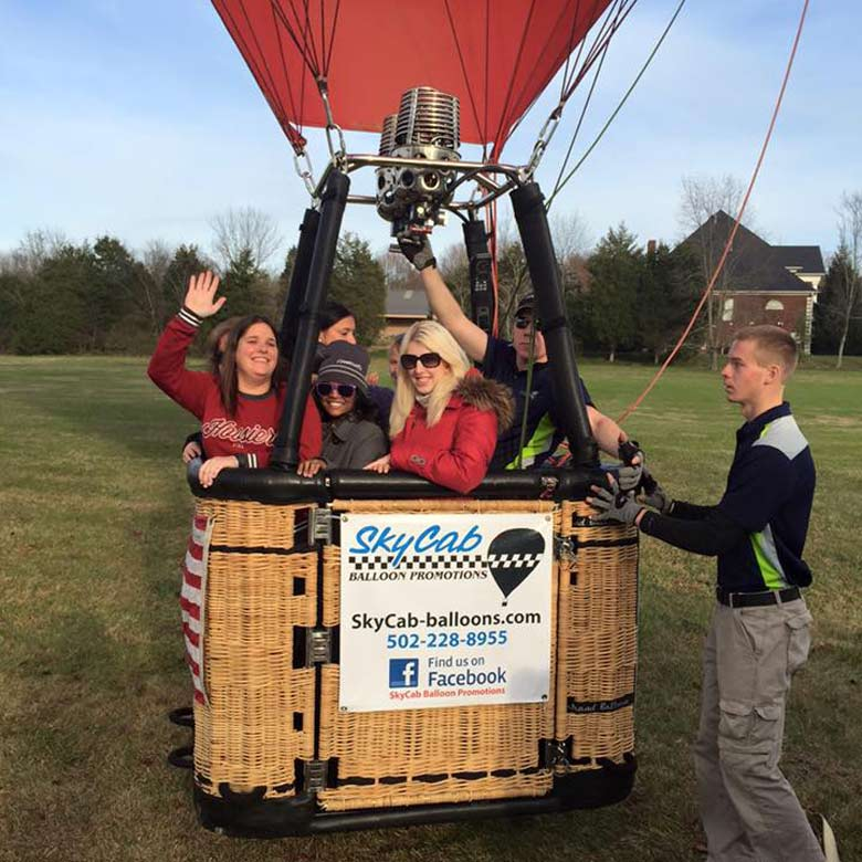 SkyCab Balloon Promotions is a full service hot air balloon company out of Louisville, KY. The company got its start in 1996 when owner Scott McClinton was flying the Yellow Cab balloon. Today, SkyCab is one of the largest full service hot air balloon companies in the United States. SkyCab specializes in hot air balloon advertising programs and hot air balloon event management services. Follow us on Facebook or check out our blog to learn more about our current projects!
